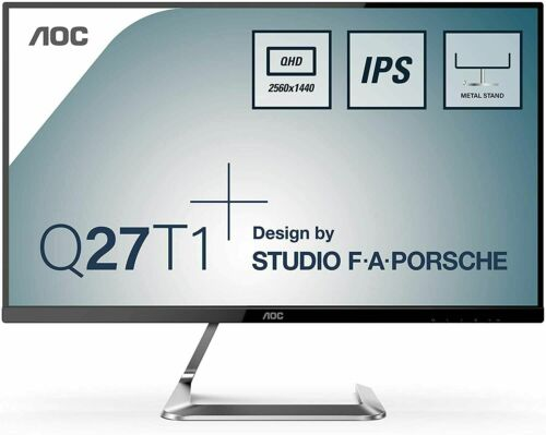 "AOC Q27T1 27"" QHD 75Hz LED LCD FreeSync Gaming Monitor Frameless HDMI DP IPS NEW"