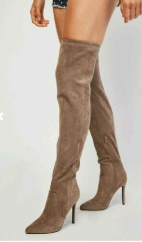 RP £65.00 WOMENS SIZE 9 42 BEIGE HIGH HEEL FAUX SUEDE OVER KNEE THIGH BOOTS BNWB