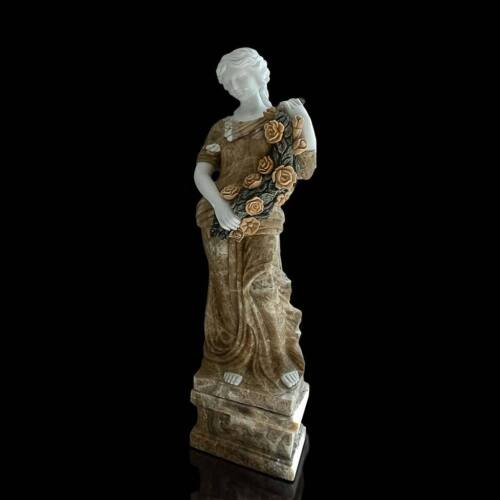 Statue 4 Stagioni Marmo Bianco Onice Giallo Four Seasons Marble Sculptures H.126