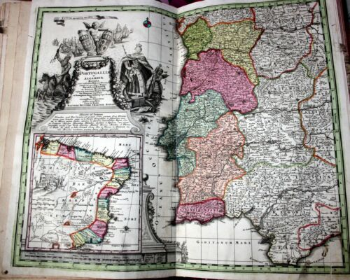 Portugalia and Brasilia, large antique map by M.Seutter, published in Wien,1728