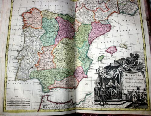 Spain, large antique hand painted map by M. Seutter, published in Wien, 1728