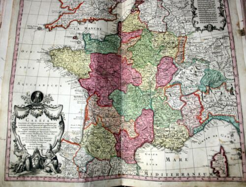 France, large antique hand painted map by M.Seutter, published in Wien, 1728