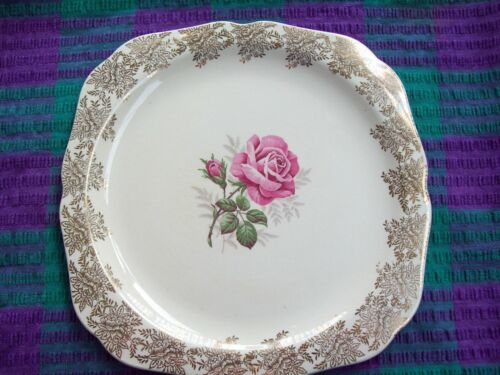 VINTAGE LORD NELSON WARE CAKE PLATE, ELIJAH COTTON LTD STAFFORDSHIRE, GOLD CHINT