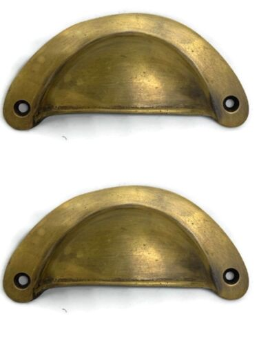 """2 heavy shell shape pulls handle antique solid brass vintage 4"""" vintage style B"""