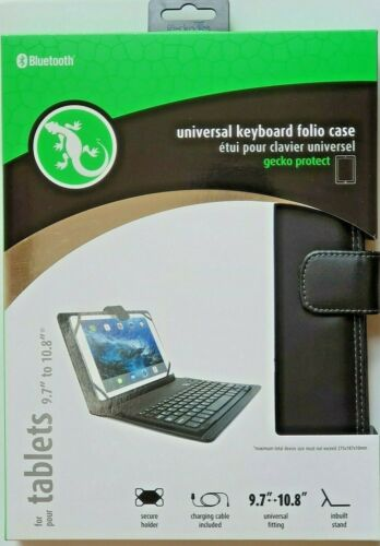 """Gecko Universal Bluetooth Keyboard Folio Case for 9.7"""" to 10.8"""" Tablets - Black"""