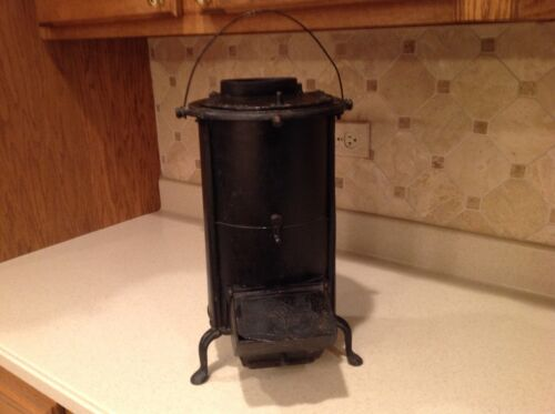 "Antique Mini Parlor Stove Cast Iron Coal Stove 15.5"" Tall Black NICE Saulson NY"