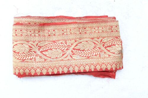 Old Silk Fabric Red and Golden Zari Silver Embroidery Brocade Border NH4988