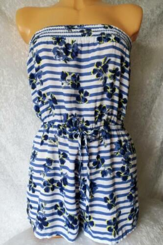LADIES M&S BLUE WHITE STRAPLESS PLAYSUIT COVER UP BEACH SHORTS JUMPSUIT UK 8-24