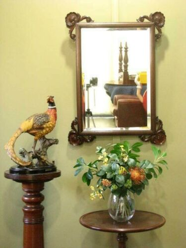 ANTIQUE WALL / OVER MANTLE MIRROR ~ BEVELLED EDGES, BEAUTIFULLY CARVED DETAIL.