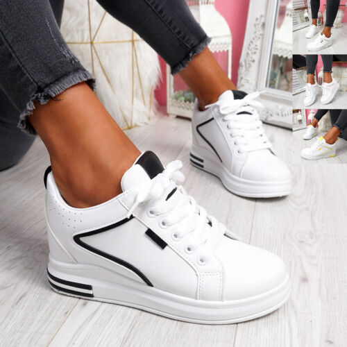 WOMENS LADIES LACE UP WEDGE TRAINERS PARTY SNEAKERS WOMEN SUMMER SHOES SIZE