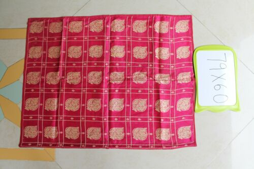 Old Silk Fabric Pink and Golden Zari Embroidery Square Brocade 79 x 60 Cm NH5210