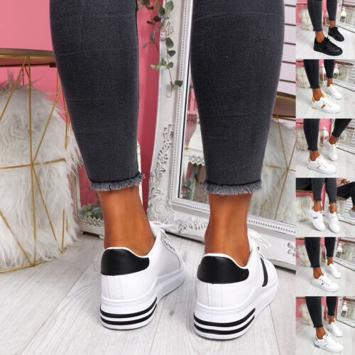 WOMENS LADIES PLATFORM TRAINERS LACE UP SNEAKERS TWO TONE CASUAL WOMEN SHOES