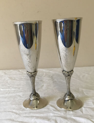 Vintage Perfection Silver Plated Champagne Flutes X 2