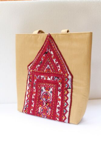 Antique Old Hand Work Embroidery Textile Used To Make Woman Hand Bag NH2885