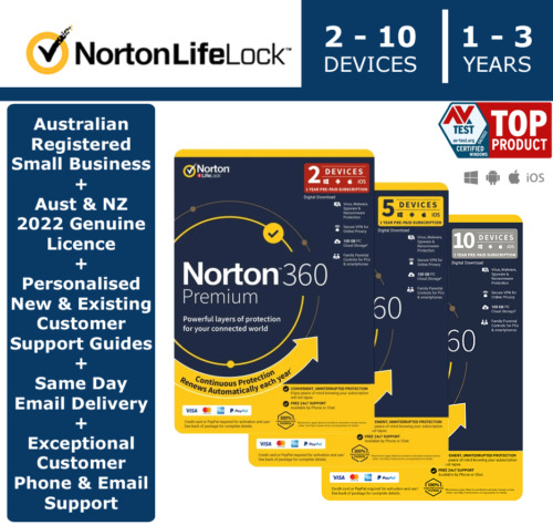Norton 360 Premium 2020 - 2 - 10 Devices | 1 Year > GENUINE AUST & NZ LICENCE