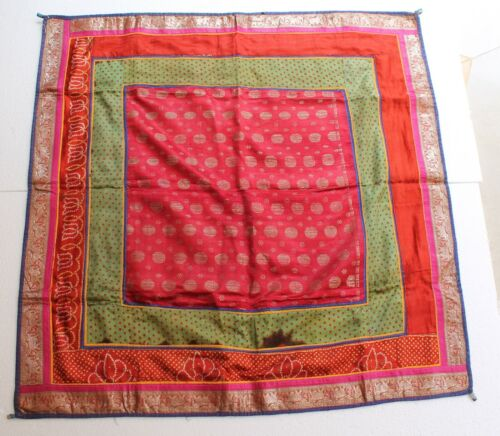 Antique Pure Silver King Khwab Embroidery Brocade Sq Wall Hanging Textile NH2896