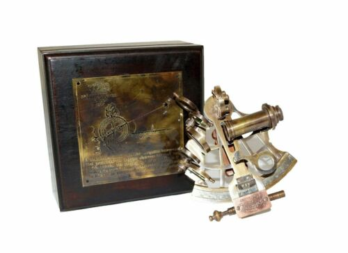 """Antique brass nautical working sextant vintage collectible navigational 4"""" item"""