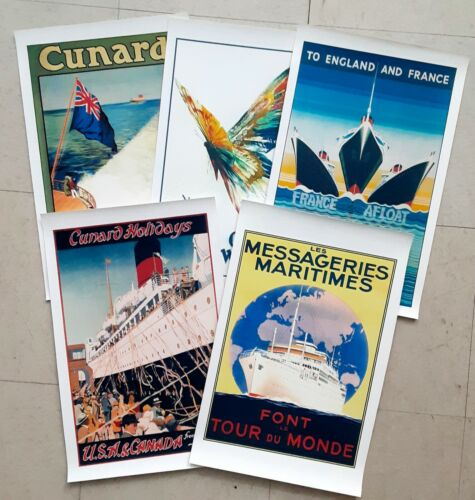 Lot of 5 Assorted Ships Ocean Liners Travel Vintage Poster Retro Canvas Prints