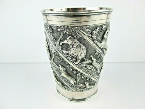 Antique Lucknow, INDIA Silver Julep Beaker Cup Animals Chased REPOUSSE