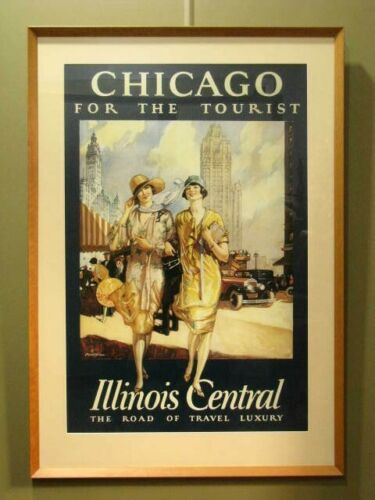 "FRAMED ADVERTISING PRINT: ""CHICAGO FOR THE TOURIST"" ~ VINTAGE THEME, LARGE SIZE"