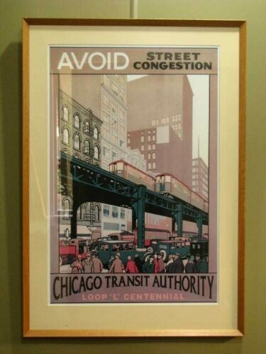 "FRAMED ADVERTISING PRINT: ""AVOID STREET CONGESTION"" ~ VINTAGE THEME, LARGE SIZE"