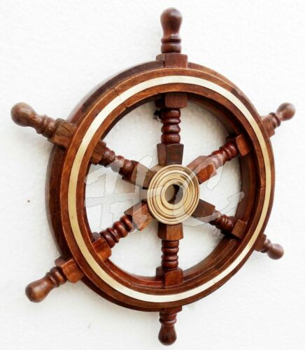 """Vintage Style 12"""" Brass & Wood Ship Wheel Helm Nautical Home Decor Boat Steering"""