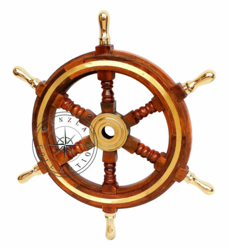 Wooden Ship Wheel Nautical Boat Steering Brass Handle Pirate Wall Decorative