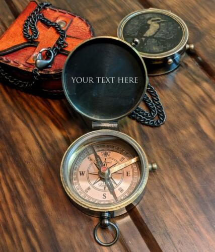 Compass Engraved Compass Brass Compass Working Compass Valentines Day