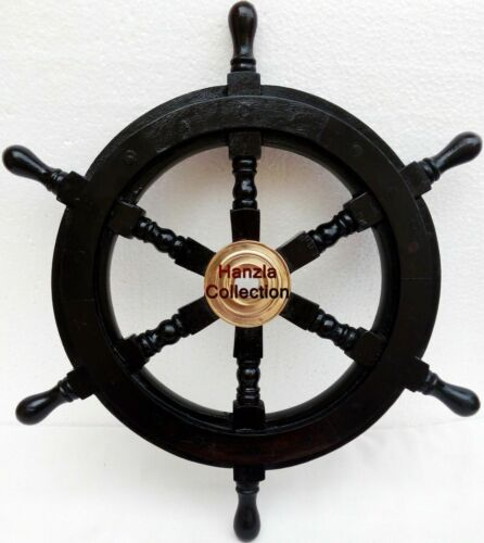 Nautical Wooden Ship Wheel Pirate Captain Brass Boat Steering Home Wall Decor