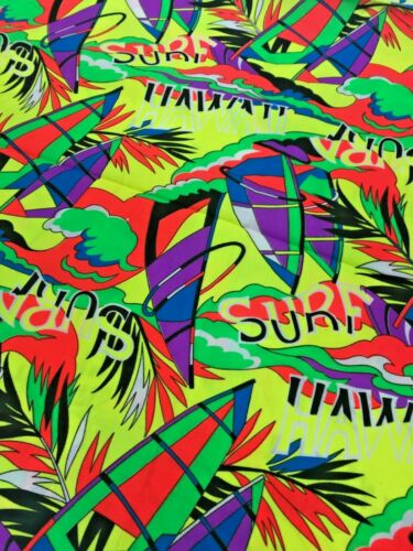 Funky Yellow 90s Fluoro Rave Surf Cotton Fabric Piece 110cm x 115cm Craft Sewing