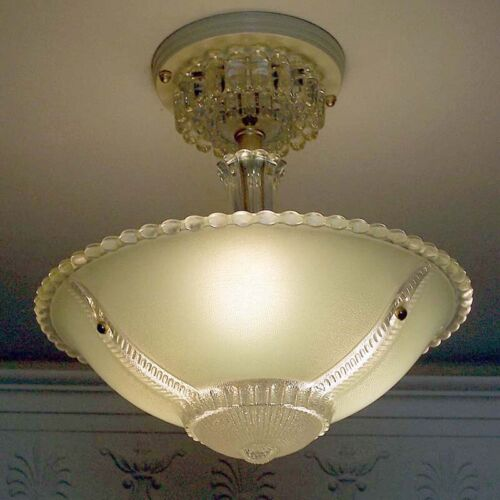 603 Vintage antique arT Deco Glass Shade Ceiling Light Lamp Jadeite Chandelier
