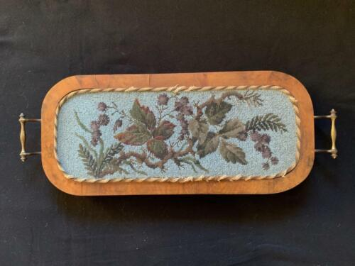 ANTIQUE VICTORIAN BEADWORK TAPESTRY TRAY 1846