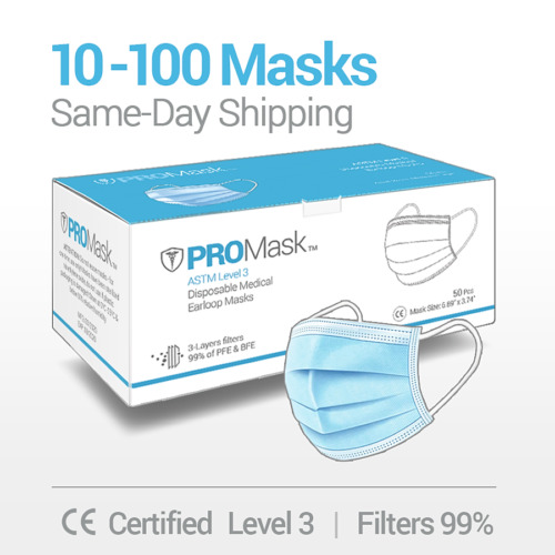 10/50/100 PROMask Disposable Face Masks Medical Surgical Dental 3-Ply Earloop  <br/> SAME DAY SHIPPING - LEVEL 3 - Filters 99%