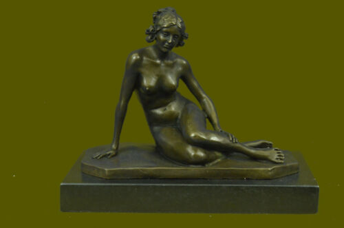 Elegant Signed by Milo Bronze Marble Statue Nude Female Bust Sculpture Figure