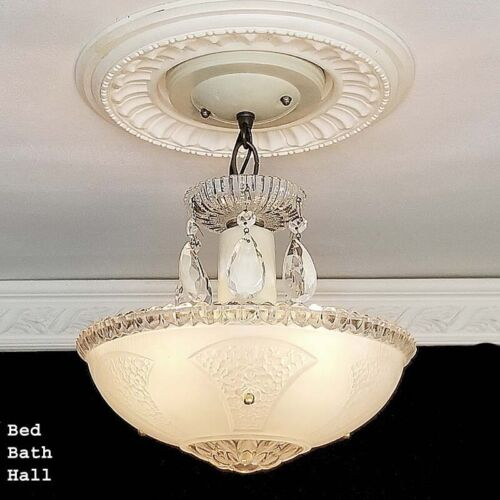 590 Vintage antique arT Deco Glass Shade Ceiling Light Lamp Fixture Chandelier
