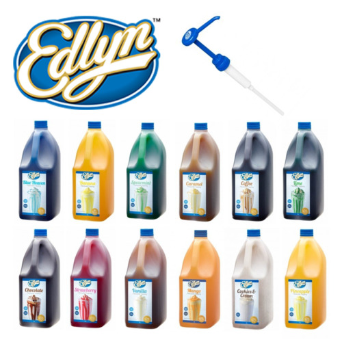 Edlyn Flavoured Syrup Topping 3L | Various Flavours, Pumps, Milkshake <br/> 🍨 Vanilla, Banana, Mango, Caramel, Lime + More 🍨