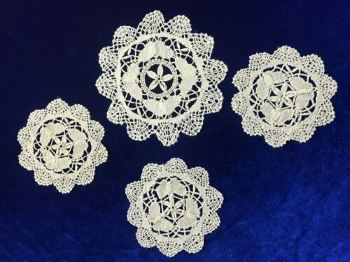 Lot of 4 Round Vintage Crochet Doilie Tea Set Embroidery Lace Butterfly Style