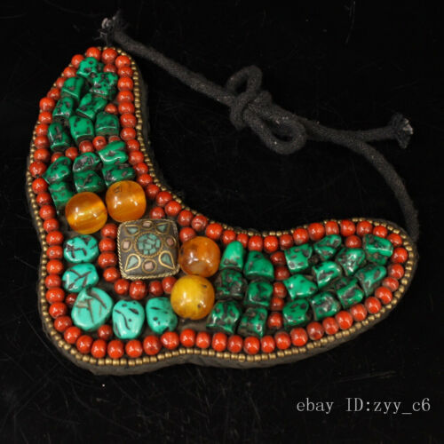 """7.6"""" China Tibet old purely handmade mosaic gem Wearing on the chest necklace"""