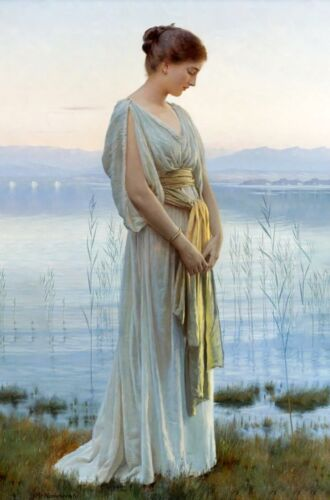 """""""Evening by the Lake"""" by Max Nonnenbruch 1901 art"""