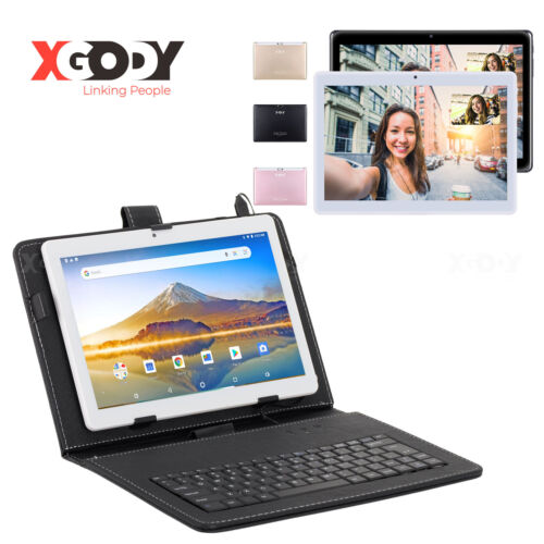 "XGODY Android 9.0 2+32GB 10.1"" Tablet PC 4-Core WIFI 2xSIM Unlocked Bundle Case"