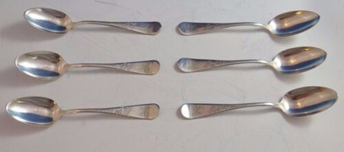 """Set of 6 Vintage Silverplate 6"""" Demitasse Spoons by Towle Circa 1880's (#929)"""