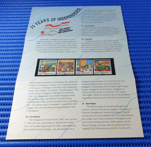 1990 Singapore Presentation Pack 25 Years of Independence Stamp Issue CTO