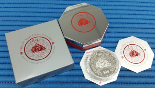 1999 Singapore Lunar Year of the Rabbit $10 Silver Piedfort Proof Coin
