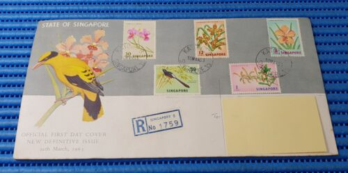 1963 State of Singapore Official First Day Cover New Definitive Orchid & Bird 01