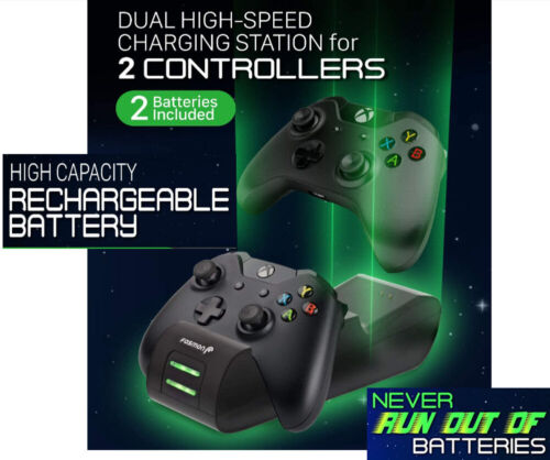 Charger for Xbox One Dual Controller One X/One S Elite + 2 Rechargeable Battery