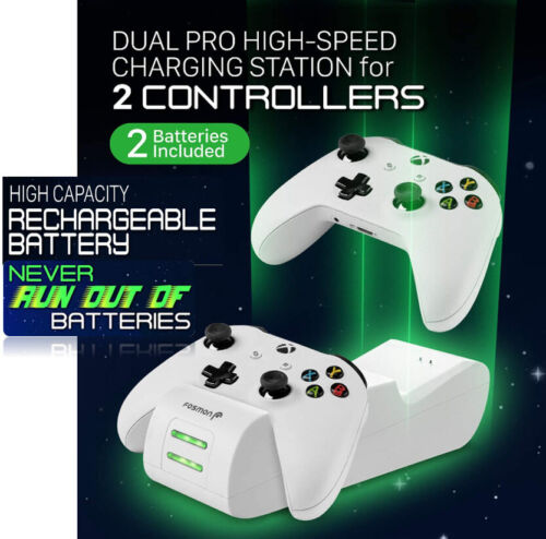 Charger for Xbox One Dual Controller One X/One S Elite + 2 Rechargeable Battery.