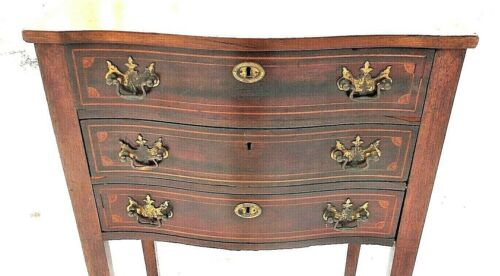 ANTIQUE EDWARDIAN 3 DRAWER FAN INLAID MAHOGANY STAND ON SQUARE TAPERED LEGS