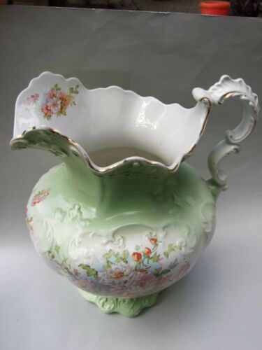Antique  Green Wedgwood Pottery Large Jug Pitcher Gorgers Floral Design C1900's