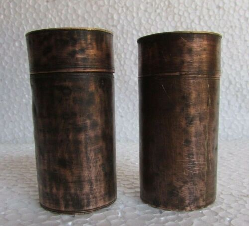 Lot of 2 Pc Vintage Copper Cylindrical Shape Handcrafted Lime Paste / Powder Box