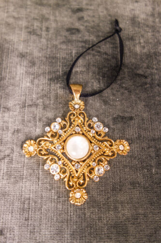 Vintage Rare OLIVIA RIEGEL Clear Crystal & Mother of Pearl Gold Cross
